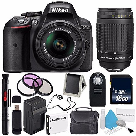Nikon D5300 Digital Camera w/ 18-55 VR II Lens (International Model No Warranty) + Nikon 70-300mm f/4.5-5.6G ED IF AF-S Nikkor Zoom Lens + 52mm 3 Piece Filter Kit Bundle (4 X Digital Zoom Model)
