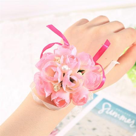 Bridesmaid Wedding S Prom Party Wrist Corsage Bracelet Hand Flowers Decor Pink