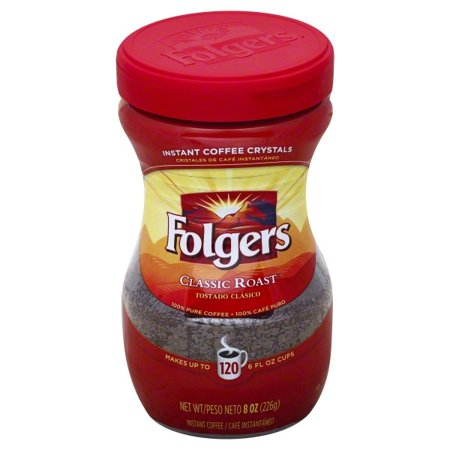 - Folgers Classic Roast Instant Coffee Crystals, 8-Ounce Jar