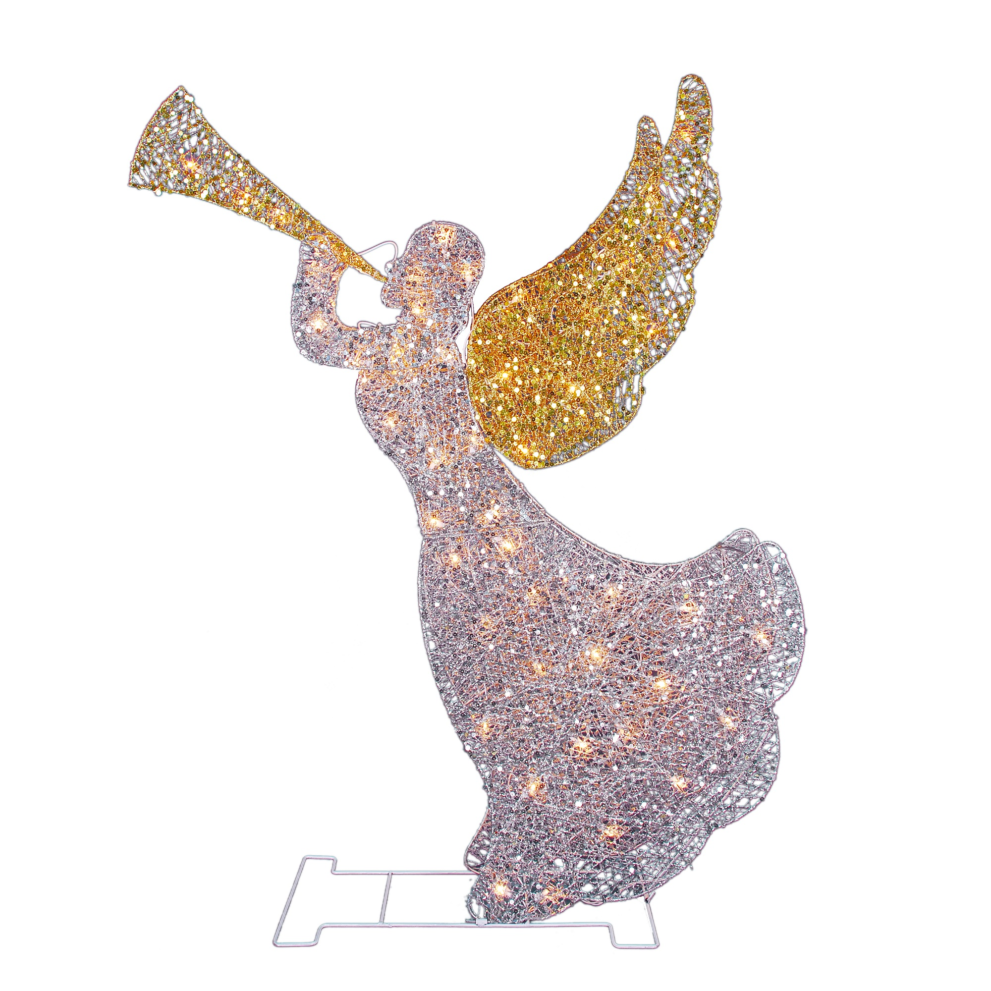 "46"" Lighted Glitter Sequin 3-D Angel with Trumpet Christmas Outdoor Decoration - Clear Lights"