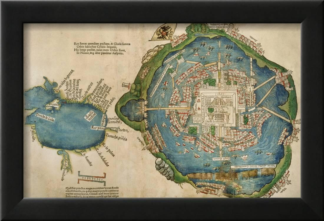 Map of Tenochtitlan and the Gulf of Mexico from Praeclara