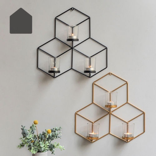19//29cm Wall Mounted Candle Holder Candlestick Metal 3D Geometric Home Decor Lot