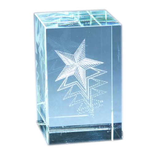 Natico Originals 60-CR-280 Crystal Block with  3-D Star  with O
