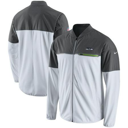 Seattle Seahawks Nike Champ Drive Flash Hybrid Full-Zip Jacket - White/Gray