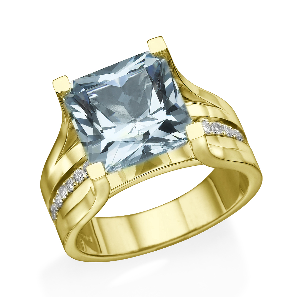 14K Yellow Gold 4.20 ctw Aquamarine Ring with Diamonds Bridge Channel set Princess by Diamonds Mine