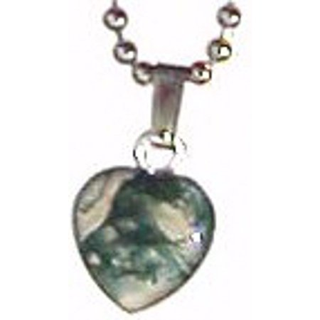 Necklace-Moss Agate Small Heart Necklace On 18  Chain