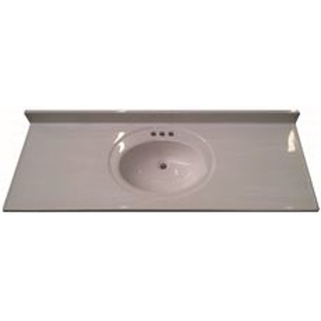 BATHROOM VANITY TOP WITH SINGLE RECESSED BOWL, CULTURED MARBLE, SOLID WHITE, 22X61 IN.
