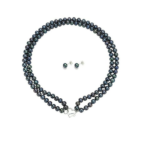 """ADDURN Double Row 7-8mm Black Freshwater Pearl Heart-Shape Sterling Silver Clasp Necklace (18"""") with Bonus Pearl Stud Earrings"""
