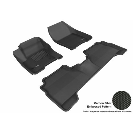3D MAXpider 2013-2015 Ford C-Max/Escape Front & Second Row Set All Weather Floor Liners in Black with Carbon Fiber Look 2012 Ford Escape Rubber