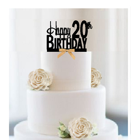 Item 020ctgr Happy 20th Birthday Elegant Cake Decoration Topper With Gold Bow