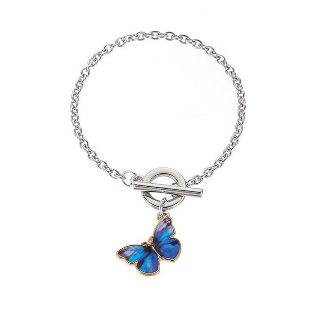 Butterfly Pendant Bracelet Women Simple Buckle Bangles Jewelry Lake Blue