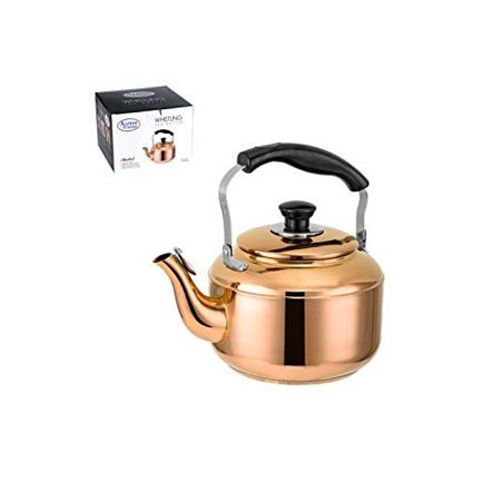 3 Liter Beautiful Copper Finish Stainless Steel Whistling Stove top Teakettle With BakeLite Handle, Gas Electric Induction Compatible ()