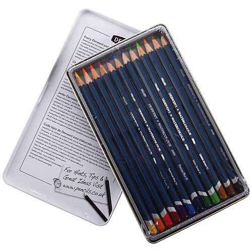 Derwent Watercolor Pencil Tin, 12/pkg