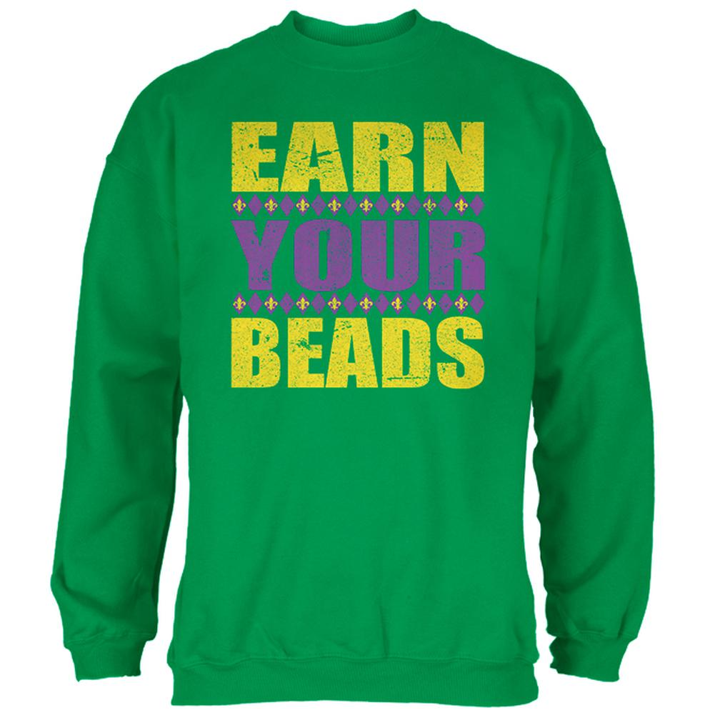 Old Glory Mardi Gras Earn Your Beads Funny Mens Sweatshirt