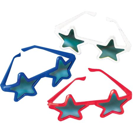 Amscan Patriotic Star Sunglasses Package Of 12](Star Shaped Sunglasses)