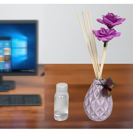 Scented Fragrance For Aroma Therapy (Purple Ceramic Vase + 1 Aroma Oil);Product Size: 8.5 x 2 x 2. Wedding Event Aroma Relaxing Home office Shop Table Center (Aroma Essence 2 In 1 Car Diffuser)