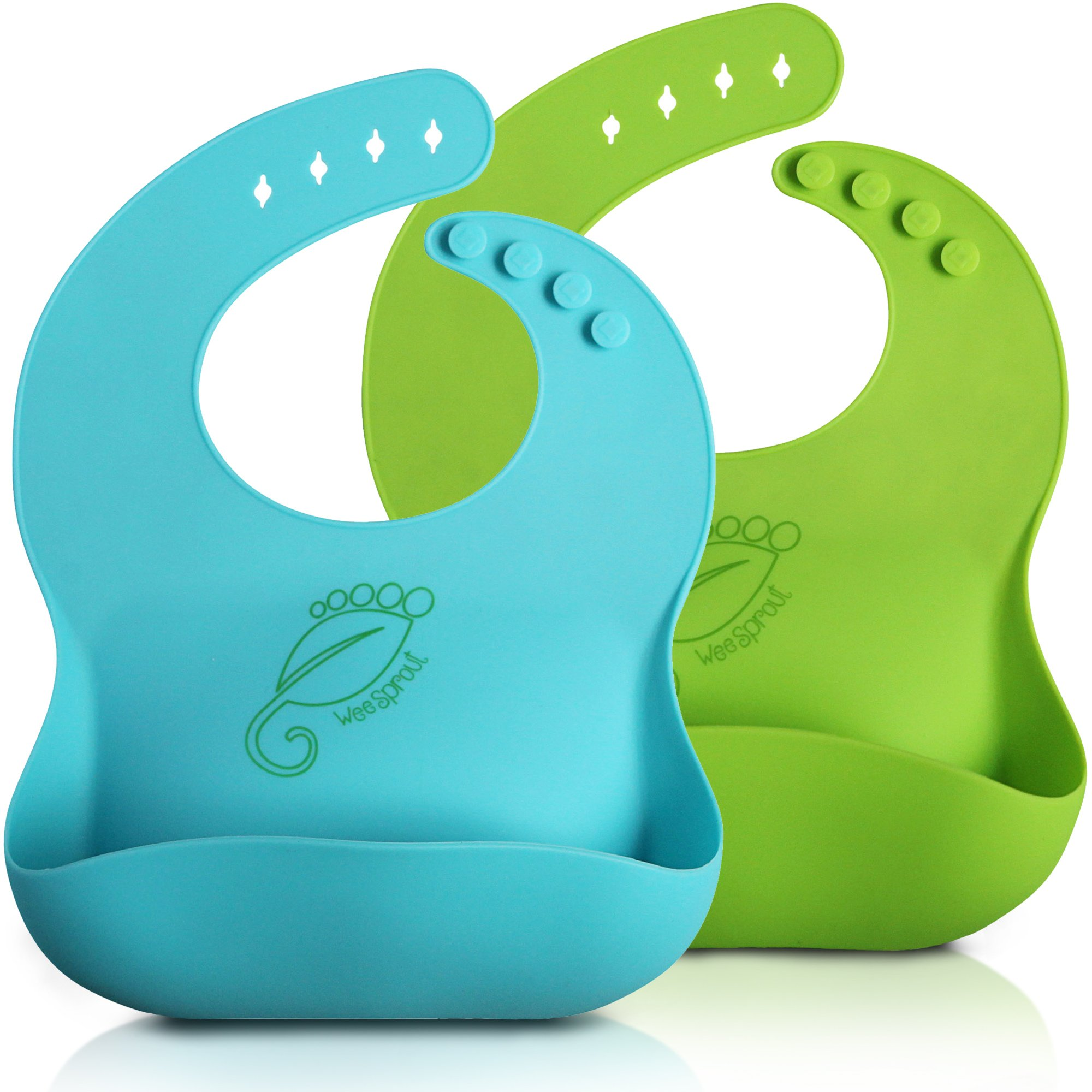 WeeSprout Waterproof Silicone Baby Bibs - Set of 2