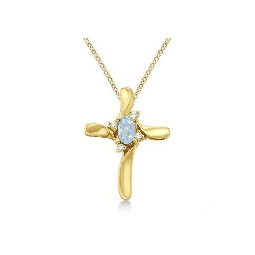 Seven Seas Jewelers Aquamarine and Diamond Cross Necklace Pendant 14k Yellow Gold by Brand New