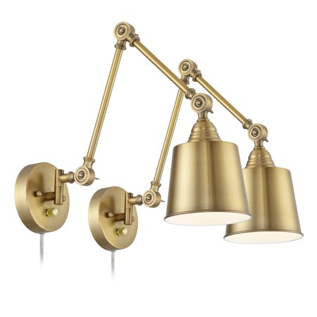 360 Lighting Set of 2 Mendes Antique Brass Down-Light Plug-In Wall (Brass Two Light Wall Lamp)