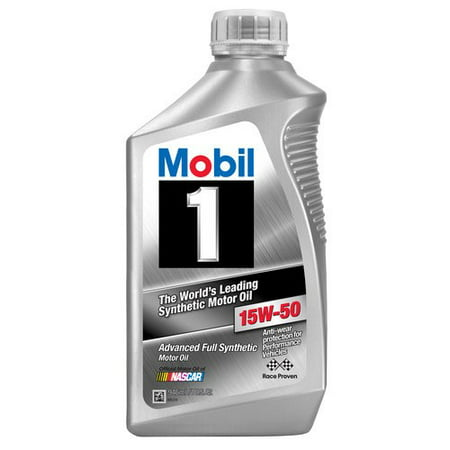 (3 Pack) Mobil 1 15W-50 Full Synthetic Motor Oil, 1 qt.