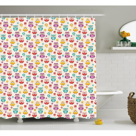 Owls Shower Curtain Lilies Popies And Daisies Lively Colored Childish Nostalgic Characters Kids Design