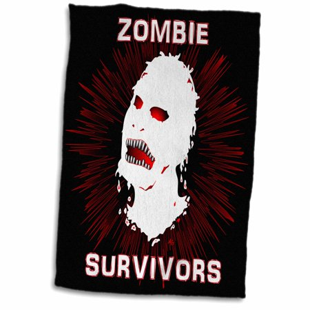 3dRose ICON zombie survivors 2 on black - Towel, 15 by 22-inch - Zombie Towel
