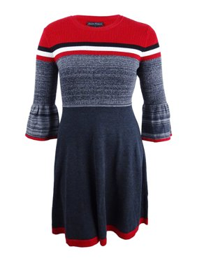 45de818e841 Product Image Jessica Howard Women s Striped Bell-Sleeve Fit   Flare  Sweater Dress