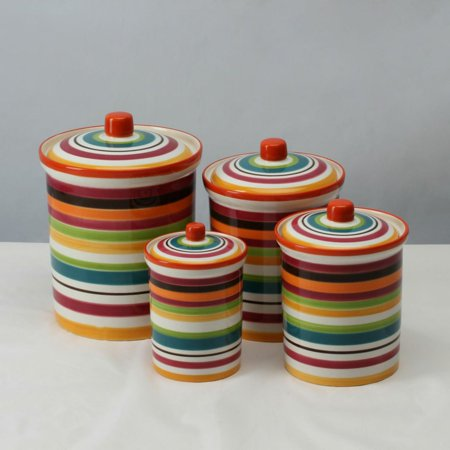 Omniware Rio Striped Canister - Set of 4
