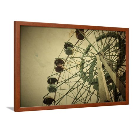 Aged Vintage Photo of Carnival Ferris Wheel with Toned F/X Framed Print Wall Art By Kuzma