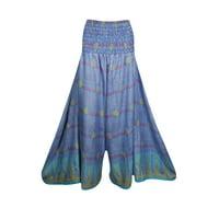 Mogul Women High Waist Wide Leg Long Skirt Pants Recycled Silk Sari Flared Flirty Maxi Split Skirt S/M