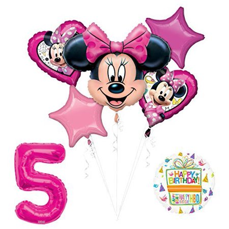 Minnie Mouse Party Decorations (NEW Minnie Mouse 5th Birthday Party Supplies Balloon Bouquet)