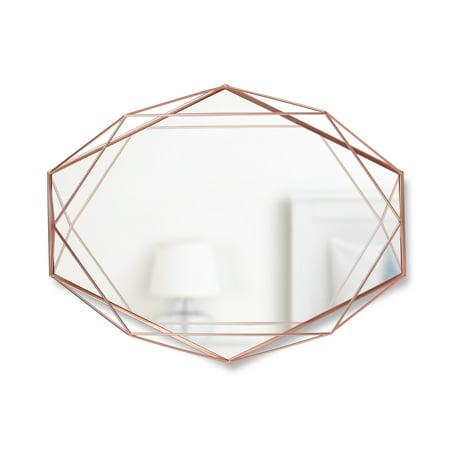 "Micro Diecast Mini Oval Mirror - Umbra Prisma 22x17"" Oval Shaped Wall Mirror, Copper"