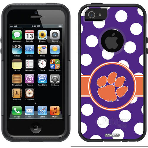 Clemson Polka Dots Design on OtterBox Commuter Series Case for Apple iPhone 5/5s