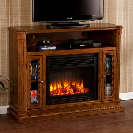 Southern Enterprises Atkinson Rich Brown Oak Electric Fireplace Media
