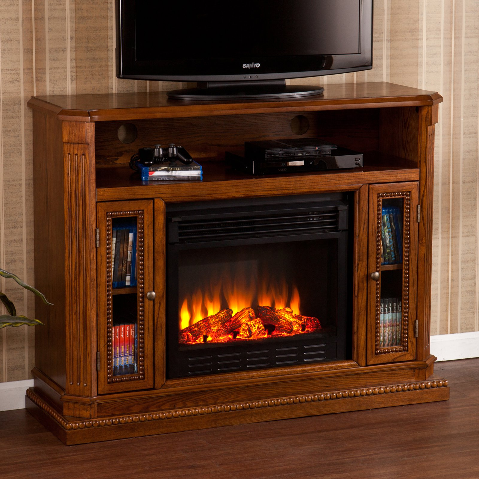 Southern Enterprises Atkinson Rich Brown Oak Electric Fireplace Media Console