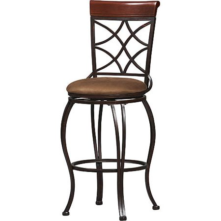 Linon Curves Counter Bar Stool Metallic Brown 24 Inches Seat Height