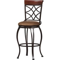 Linon Curves Counter Bar Stool, Metallic Brown, 24 inches Seat Height