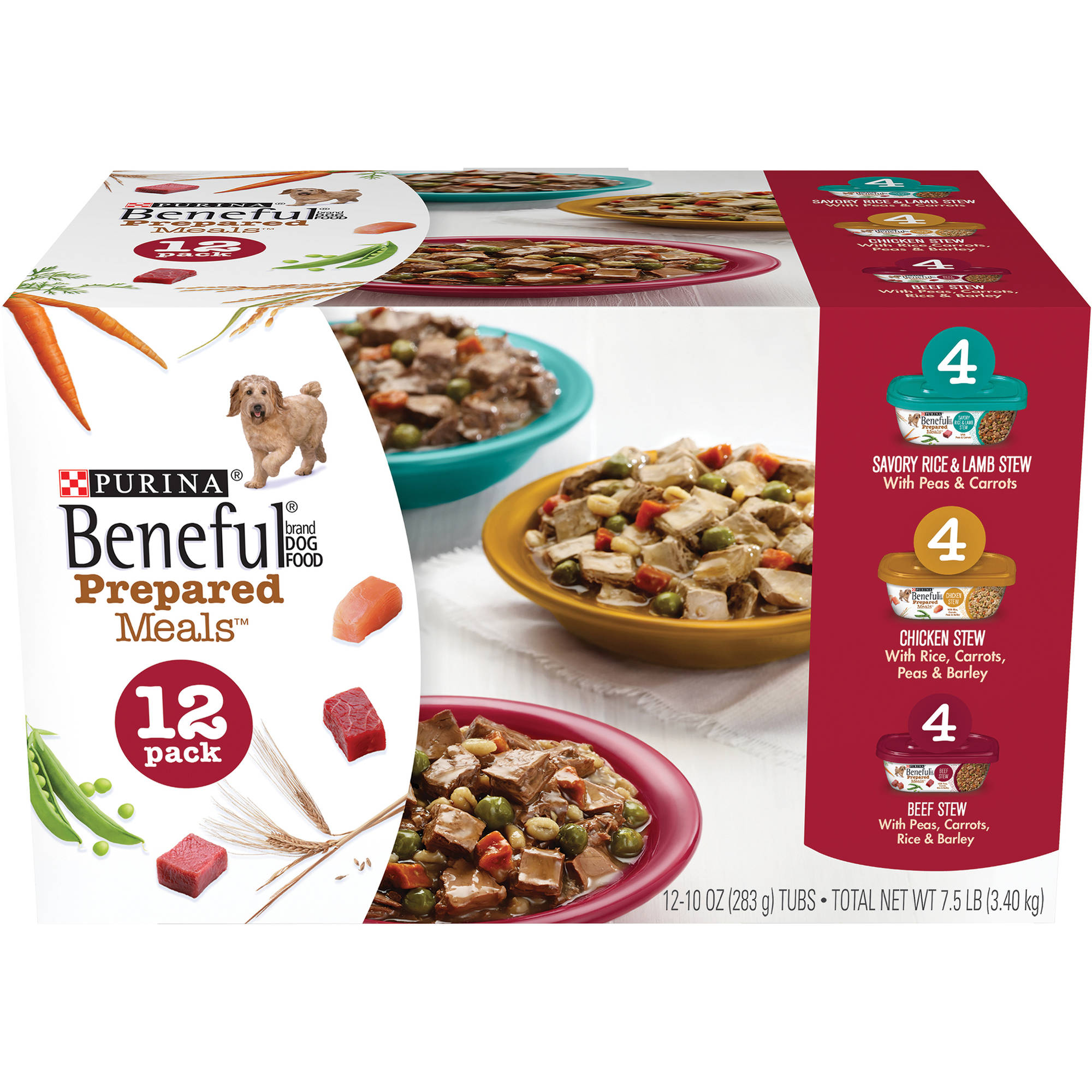 Purina Beneful Prepared Meals Variety Pack Wet Dog Food, 10 Oz, Case of 12