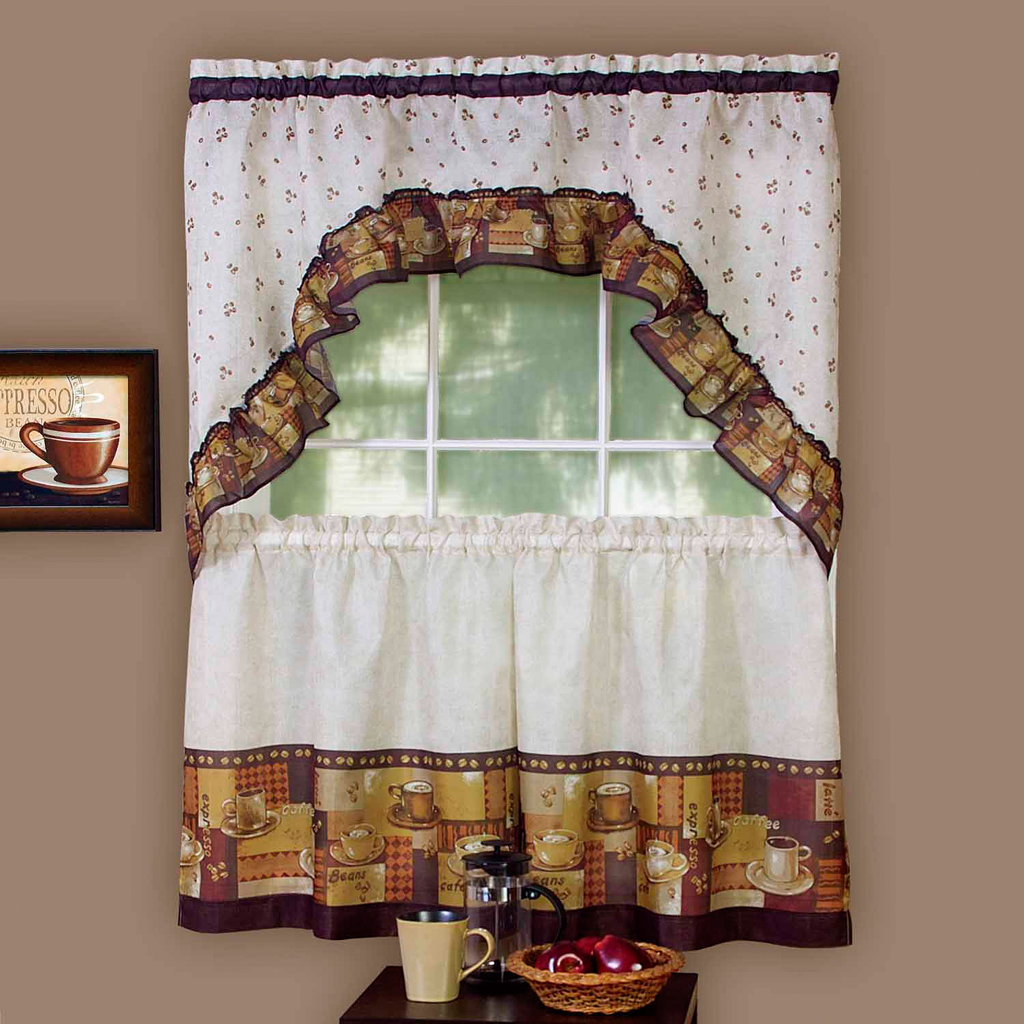good Kitchen Curtain And Valance Set Part - 14: Achim Kitchen Curtain and Swag Set, Coffee - Walmart.com