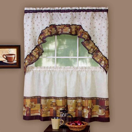 Achim Kitchen Curtain and Swag Set, Coffee