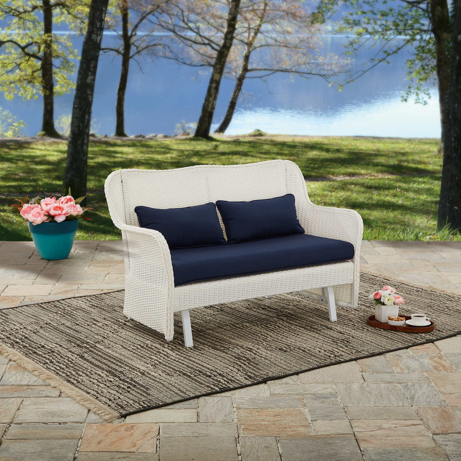 Better Homes and Gardens Camrose Farmhouse Wicker Outdoor Glider Bench