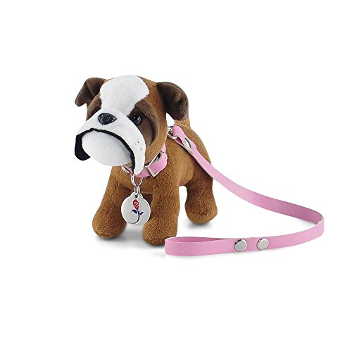 18 Inch Doll Accessories | Adorable Bulldog Puppy Dog with Pink Leash, Matching Collar and... by Emily Rose Doll Clothes