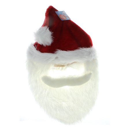 Santa Mask With Beard Christmas Holiday Dress Up Saint Nick X-Mas Costume Outfit - Saint Costume Ideas
