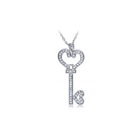 Gunmetal Heart - Gunmetal Tone Clear Crystal Rhinestone Heart Key Lock Secret Pendant Necklace