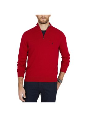Nautica Mens Big & Tall Ribbed Trim Long Sleeves Sweater Red 3XL