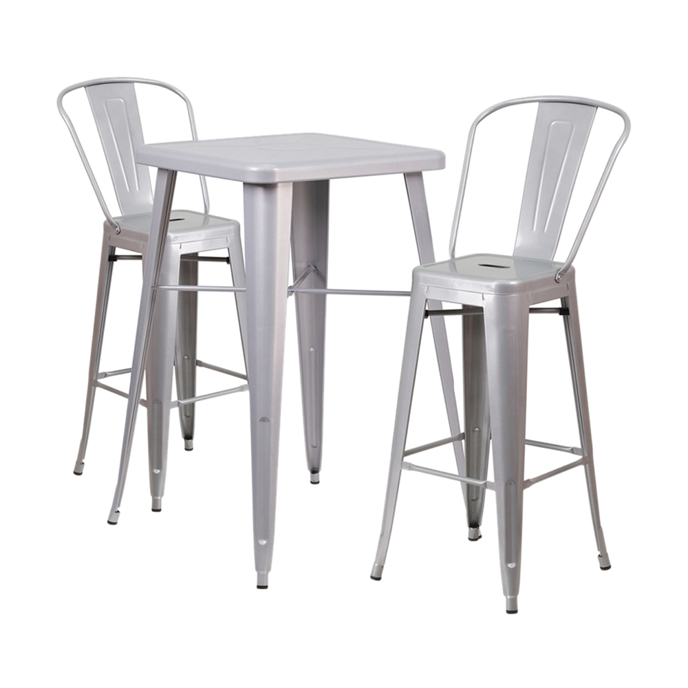Offex Silver Metal Indoor-Outdoor Bar Table Set With 2 Barstools [OF-CH-31330B-2-30GB-SIL-GG]
