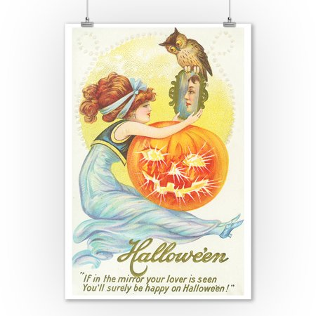 Halloween Scene of Woman Looking at Lover in Mirror (9x12 Art Print, Wall Decor Travel Poster)](Halloween 1 Best Scenes)
