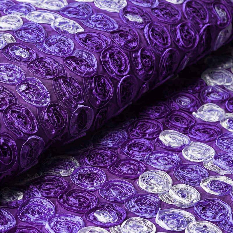 "BalsaCircle 54"" x 4 yards Ombre Mini Ribbon Roses Fabric Bolt Put-up - Sewing Crafts Draping Decorations Supplies"