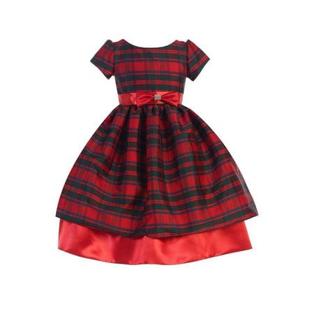 Ellie Kids Little Girls Red Taffeta Plaid Bow Accented Christmas Dress 4