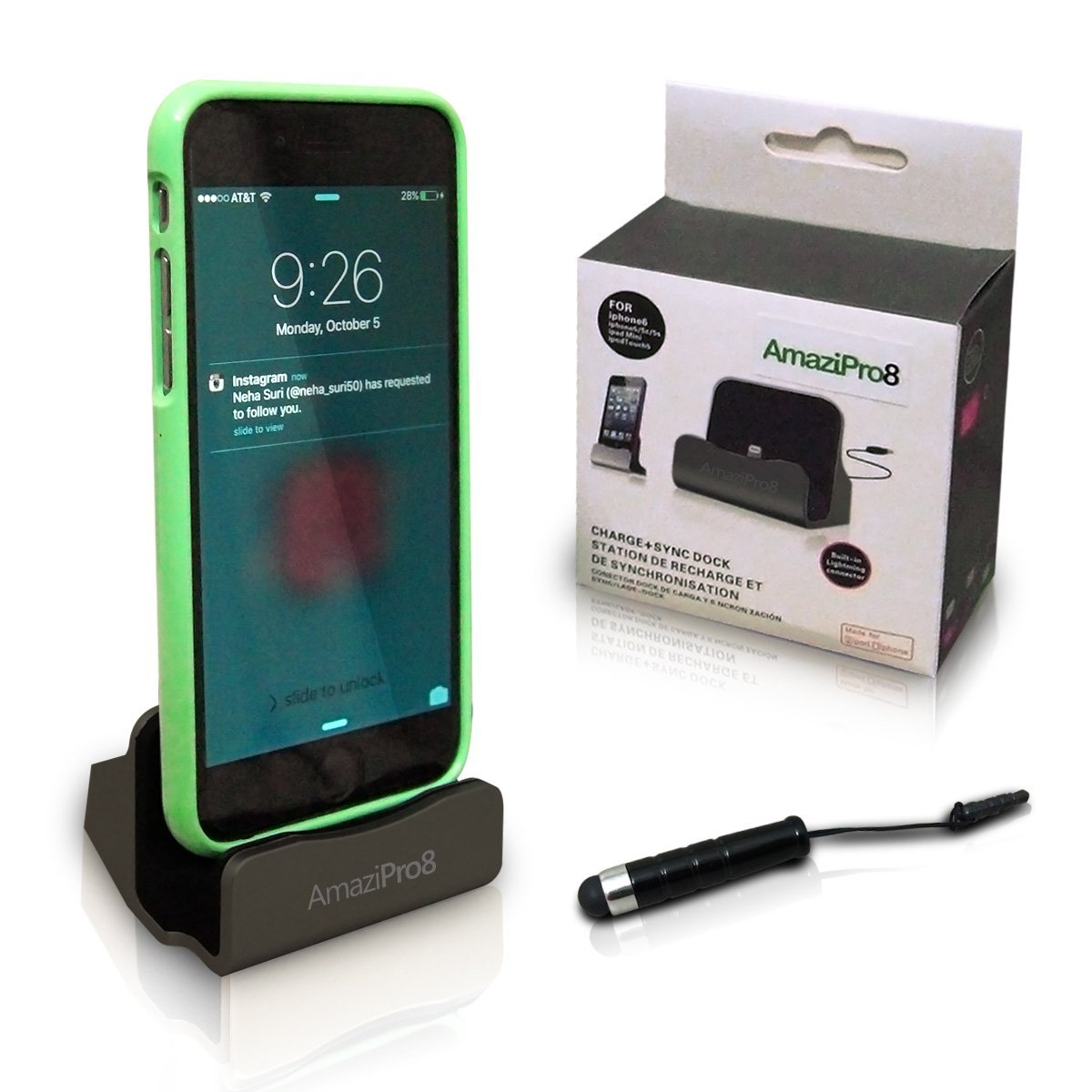 Amazipro8 Iphone Charger Docking Station Stylus Dust Plug Best Usb Lightning Cable Charge Sync Stand Cradle Charging Dock Stations For Le 6 Plus 6s